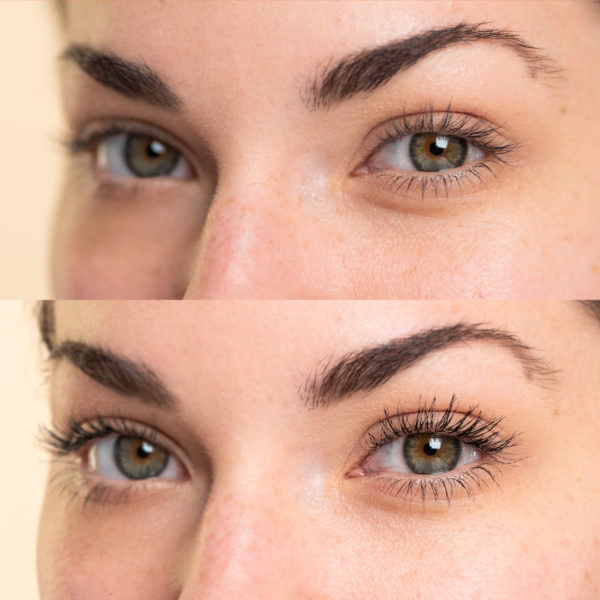 Mascara Before and After: Side View