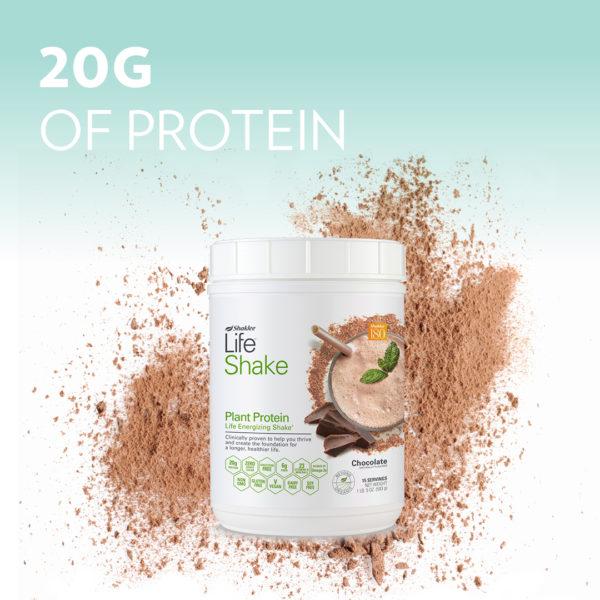 Life Shake Chocolate with 20 Grams of Protein Headline