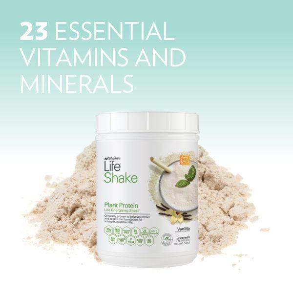Life Shake Vanilla with 23 Essential Vitamins and Minerals Headline